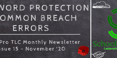 Password Protection & Common Breach Errors – SchoolPro TLC Monthly Newsletter – Issue 15 – November '20